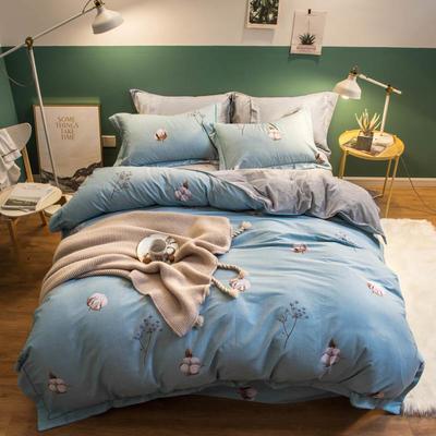 2018新款全棉加绒保暖四件套 1.8m(6英尺)床 绵绵花语