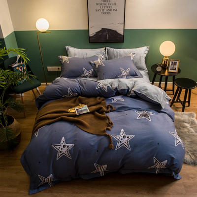 2018新款全棉加绒保暖四件套 1.8m(6英尺)床 魔彩星星