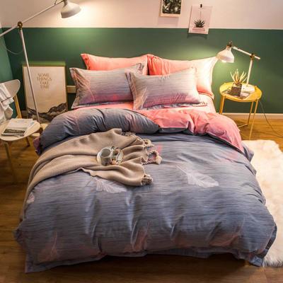 2018新款全棉加绒保暖四件套 1.8m(6英尺)床 飘羽