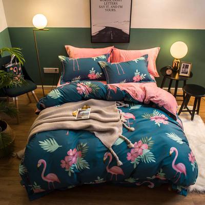 2018新款全棉加绒保暖四件套 1.8m(6英尺)床 追爱 -青
