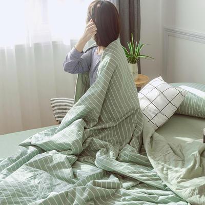 2019新款全棉色织水洗棉夏被四件套 150x200cm小号三件套 飞扬