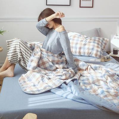 2019新款全棉色织水洗棉夏被四件套 48cmx74cm单枕套/只 天籁