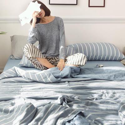 2019新款全棉色织水洗棉夏被四件套 150x200cm小号三件套 印象派