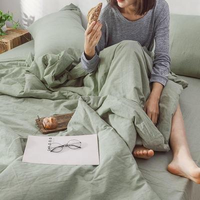 2019新款全棉水洗棉大豆被四件套 180x230cm单床单 抹茶绿