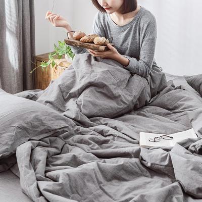 2019新款全棉水洗棉大豆被四件套 180x230cm单床单 夜灰