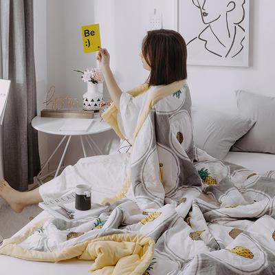 2019新款水洗棉印花AB版夏被 150x200cm 香蕉菠萝