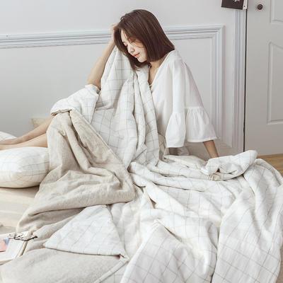 2019新款水洗色织麻棉夏被四件套 48cmx74cm单枕套/对 棉麻白格