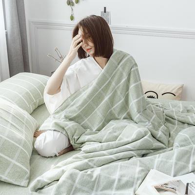2019新款水洗色织麻棉夏被四件套 48cmx74cm单枕套/对 棉麻绿格