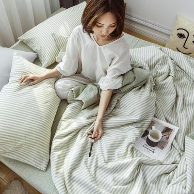 2019新款水洗色织麻棉夏被四件套 48cmx74cm单枕套/对 棉麻绿条