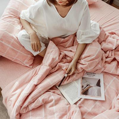 2019新款水洗色织麻棉夏被四件套 48cmx74cm单枕套/对 棉麻玉格
