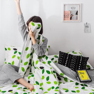 2019新款全棉小清新棉花夏被四件套 48cmx74cm单枕套/对 绿叶