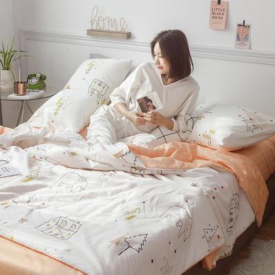 2019新款全棉小清新棉花夏被四件套 48cmx74cm单枕套/对 熊的家园
