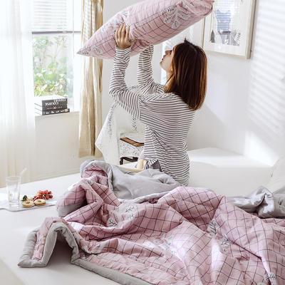 2019新款A棉B水洗棉夏被 150x200cm 小粉格