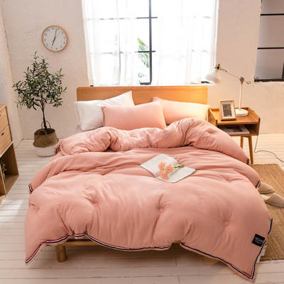 2019新款北欧纯色水洗棉冬被 150x200cm4斤 玉色