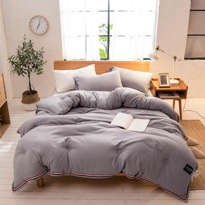 2019新款北欧纯色水洗棉冬被 150x200cm4斤 灰色