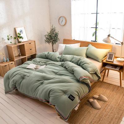 2018新款北欧纯色水洗棉冬被 150x200cm(4斤) 绿色