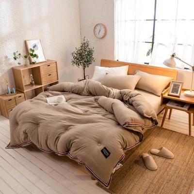 2018新款北欧纯色水洗棉冬被 150x200cm(6斤) 棕色