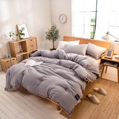 2018新款北欧纯色水洗棉冬被 150x200cm(6斤) 灰色