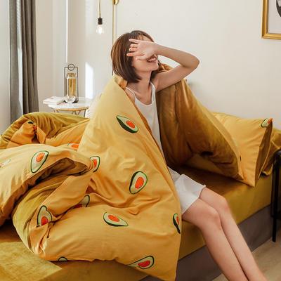 2019新款轻奢风棉加绒系列冬被被子被芯 150x200cm7斤被套+被芯 牛油果黄