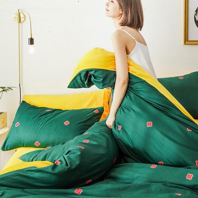 2019新款轻奢风棉加绒系列冬被被子被芯 150x200cm7斤被套+被芯 四叶草绿