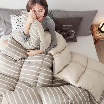 2019新款无印风水洗棉冬被被子被芯 150x200cm5斤 条纹-咖