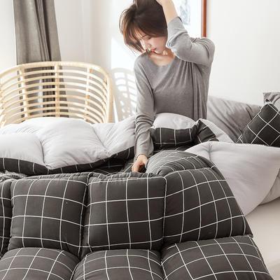 2019新款无印风水洗棉冬被被子被芯 150x200cm5斤 小黑格