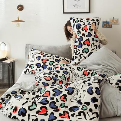 2019新款牛奶绒印花保暖三件套四件套 1.2m床单款三件套 爱心豹纹