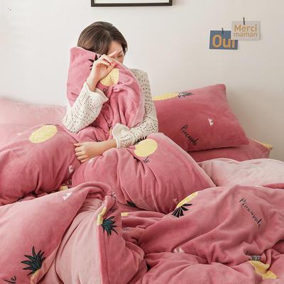 2019新款牛奶绒印花保暖三件套四件套 1.2m床单款三件套 粉红菠萝