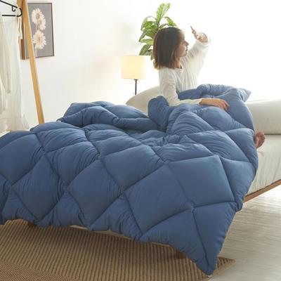 2019新款日式水洗棉冬被 150x200cm4斤 菱格-幽蓝