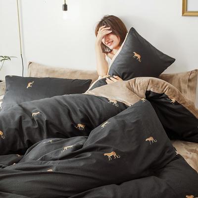 2019新款轻奢风棉加绒牛奶绒法莱绒三件套四件套加被芯 1.2m床单款三件套+被芯 豹子