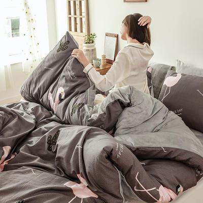 2019新款ins风棉加绒牛奶绒法莱绒三件套四件套加被芯 1.2m床单款三件套+被芯 火烈之鸟