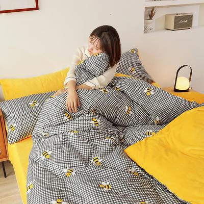 2019新款ins风棉加绒牛奶绒法莱绒三件套四件套加被芯 1.2m床单款三件套+被芯 小蜜蜂