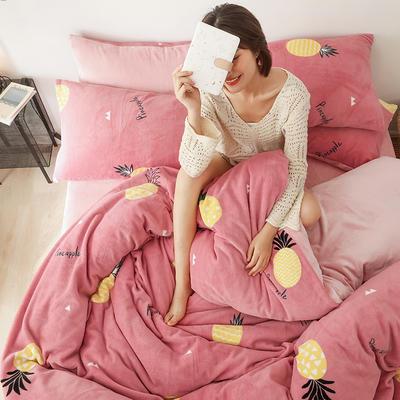 2019新款牛奶絨印花保暖三件套四件套加被芯 1.2m床單款三件套+被芯 粉紅菠蘿