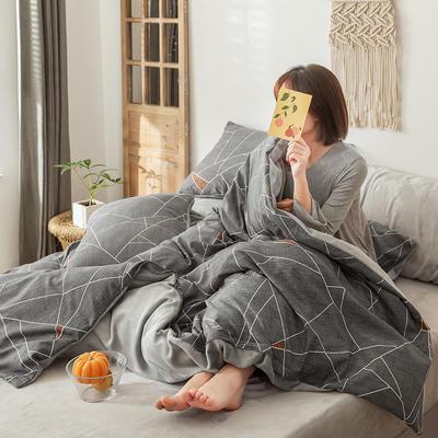 2019新款洛卡棉加绒牛奶绒法莱绒三件套四件套加被芯 1.2m床单款三件套+被芯 时尚空间