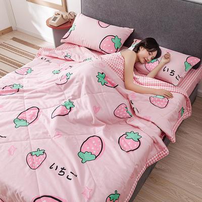 2020新款全棉印花夏被 100x150cm 草莓童话(粉)
