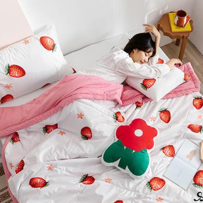 2020新款水洗棉印花夏被 100x150cm 蜜恋草莓