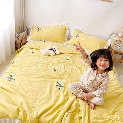 2020新款小雛菊毛巾繡夏被四件套 單品夏被150X200cm 嫩黃