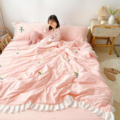 2020新款小雛菊毛巾繡夏被四件套 單品夏被150X200cm 藕粉
