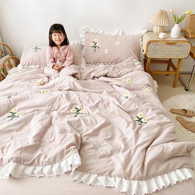 2020新款小雛菊毛巾繡夏被四件套 單品夏被150X200cm 皮粉