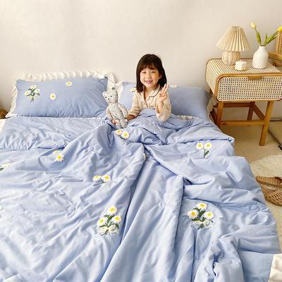 2020新款小雏菊毛巾绣夏被四件套 单品夏被150X200cm 浅蓝