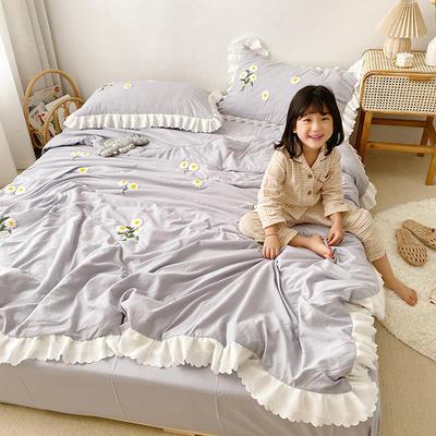 2020新款小雛菊毛巾繡夏被四件套 單品夏被150X200cm 淺紫