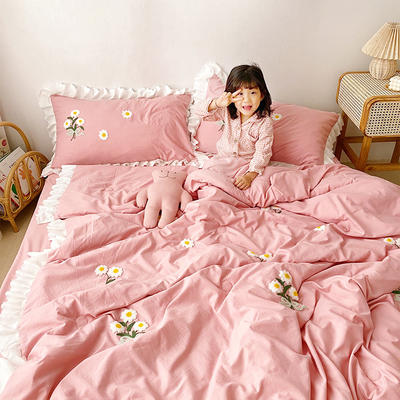 2020新款小雛菊毛巾繡夏被四件套 單品夏被150X200cm 珊瑚粉