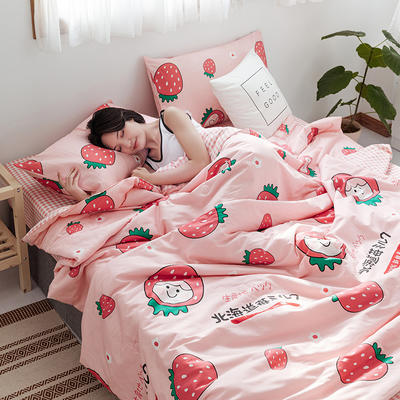 2020新款全棉ins風夏被四件套 150x200cm小號三件套 草莓物語