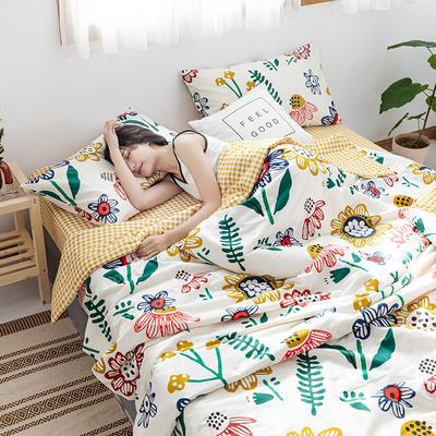 2020新款全棉ins風夏被四件套 150x200cm小號三件套 太陽花