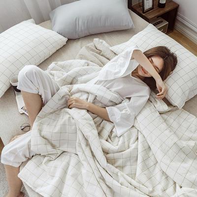 2020新款水洗色织麻棉夏被四件套 1.2m床单款夏被三件套 棉麻白格