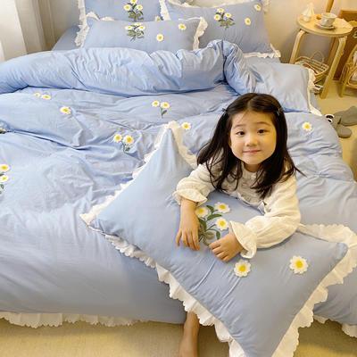 2020新款小雏菊毛巾绣冬被四件套 小号三件套(被套150x200cm) 蓝色