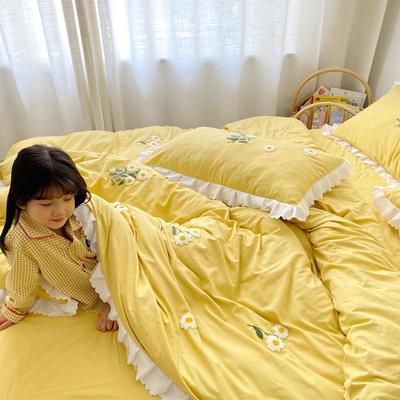 2020新款小雏菊毛巾绣冬被四件套 小号三件套(被套150x200cm) 嫩黄