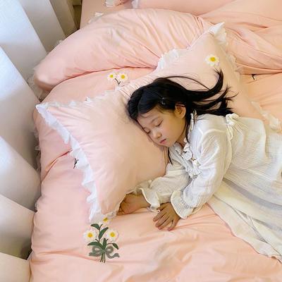 2020新款小雏菊毛巾绣冬被四件套 小号三件套(被套150x200cm) 藕粉