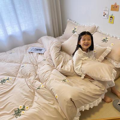 2020新款小雏菊毛巾绣冬被四件套 小号三件套(被套150x200cm) 浅卡其