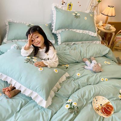 2020新款小雏菊毛巾绣冬被四件套 小号三件套(被套150x200cm) 水绿